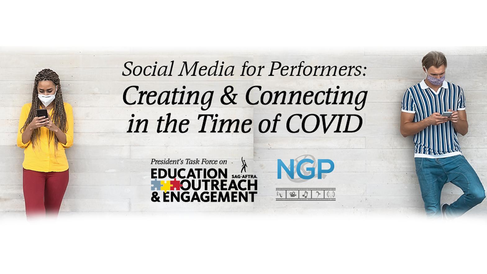 'Redes sociales para artistas intérpretes o ejecutantes: Creando y conectando en la época de COVID' en la parte superior en cursiva 'Miércoles 9 de septiembre 10 a. M. PT / Mediodía CT / 1 p. M. ET'