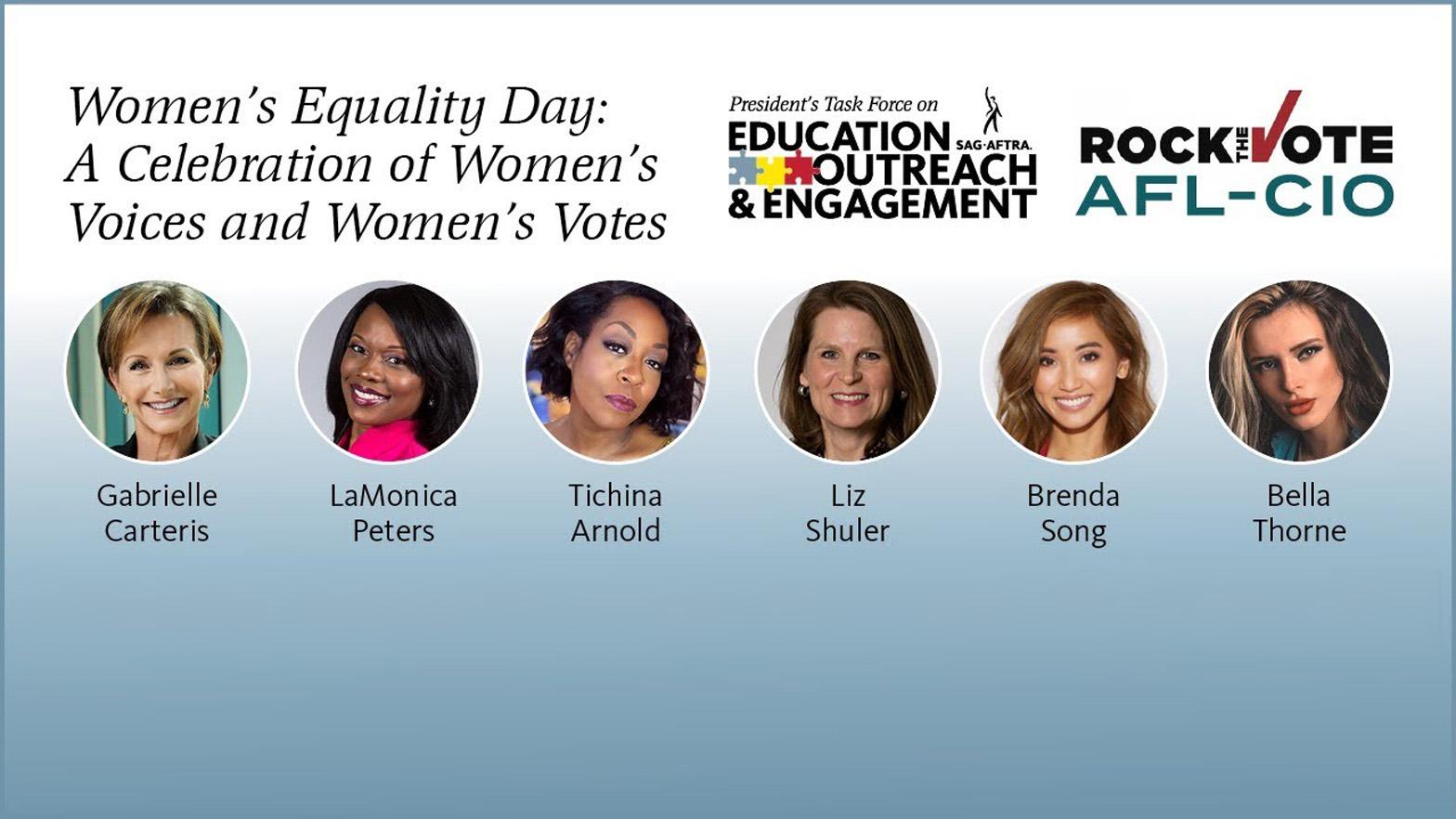 'Día de la Igualdad de la Mujer: Una celebración de la voz y el voto de la mujer' Disparos a la cabeza LR: Carteris, Peters, Arnold, Schuler, Song, Thorne
