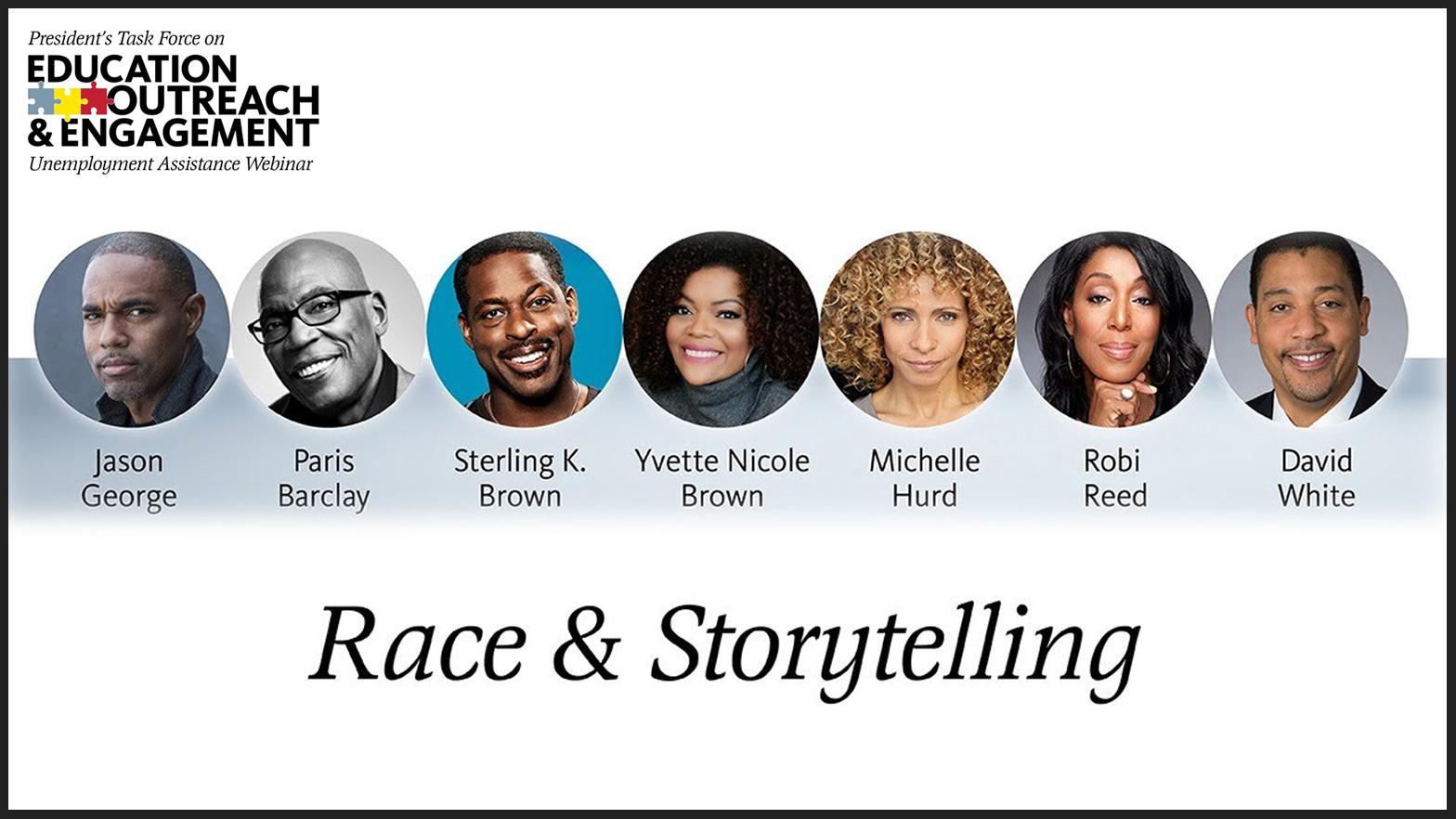 Disparos a la cabeza de los panelistas LR: George, Barclay, Sterling K. Brown, Yvette Nicole Brown, Hurd, Feed, White