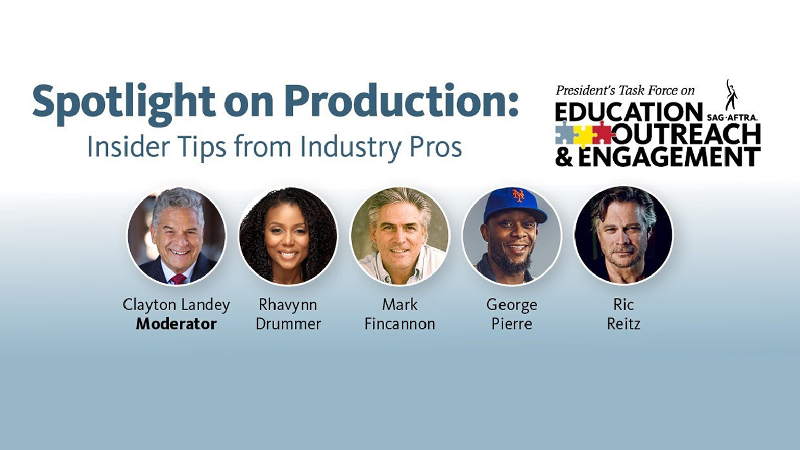 'Spotlight on Production: Insider Tips from Industry Pros' en el tercio superior con el logotipo de PTEOE en la esquina superior derecha. Disparos a la cabeza LR: Landey, Drummer, Fincannon, Pierre, Reitz