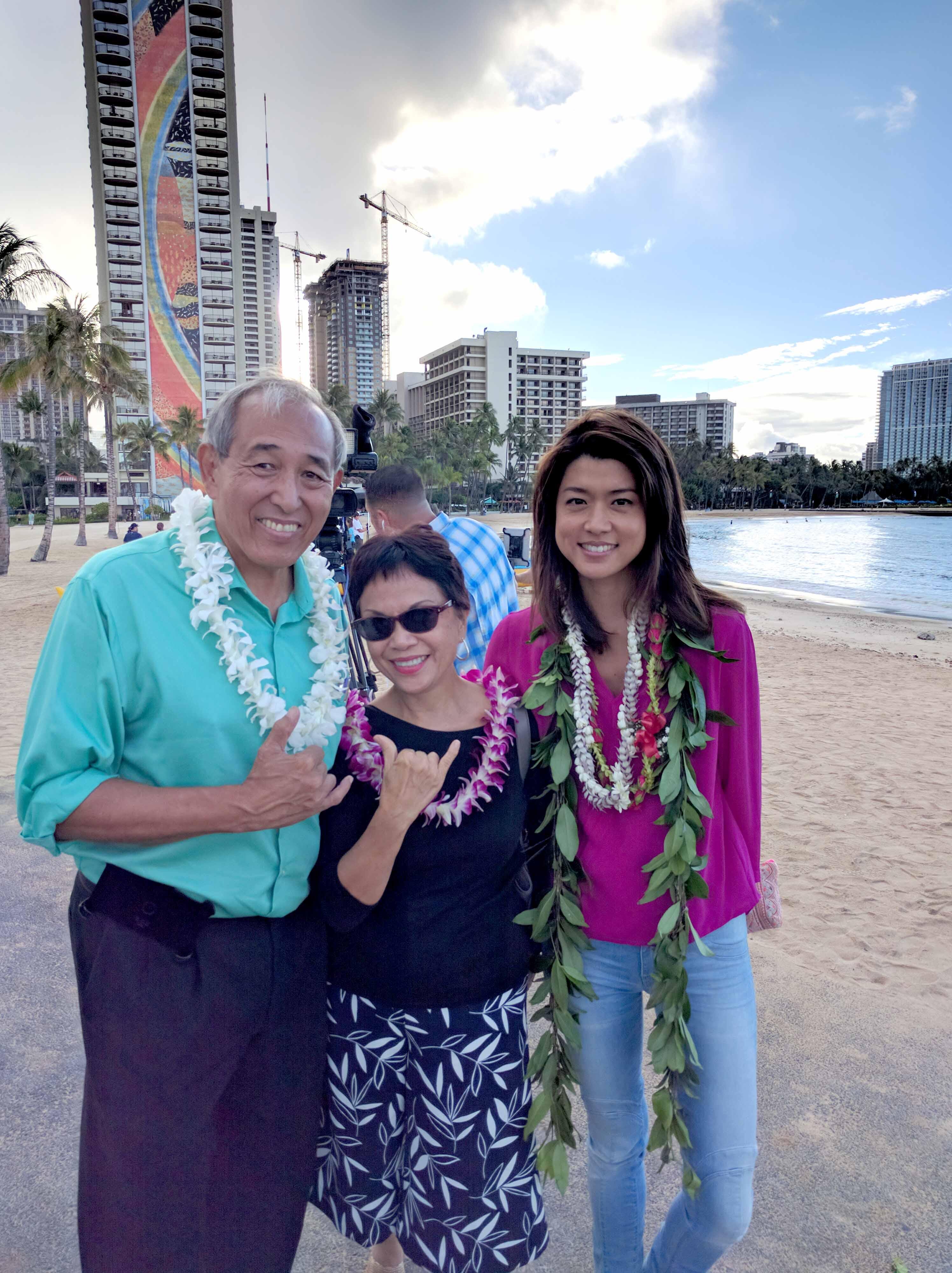 Dennis Chun, Brenda_Ching and Grace Park at the Hawaii 5-0 blessing of season 7.