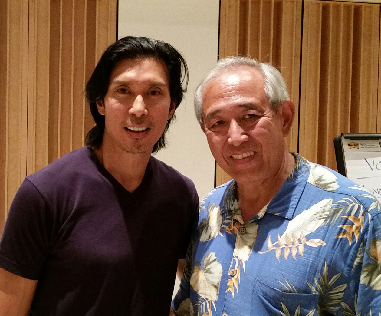 Keo Woolford and Dennis Chun at the conservatory workshop in june.