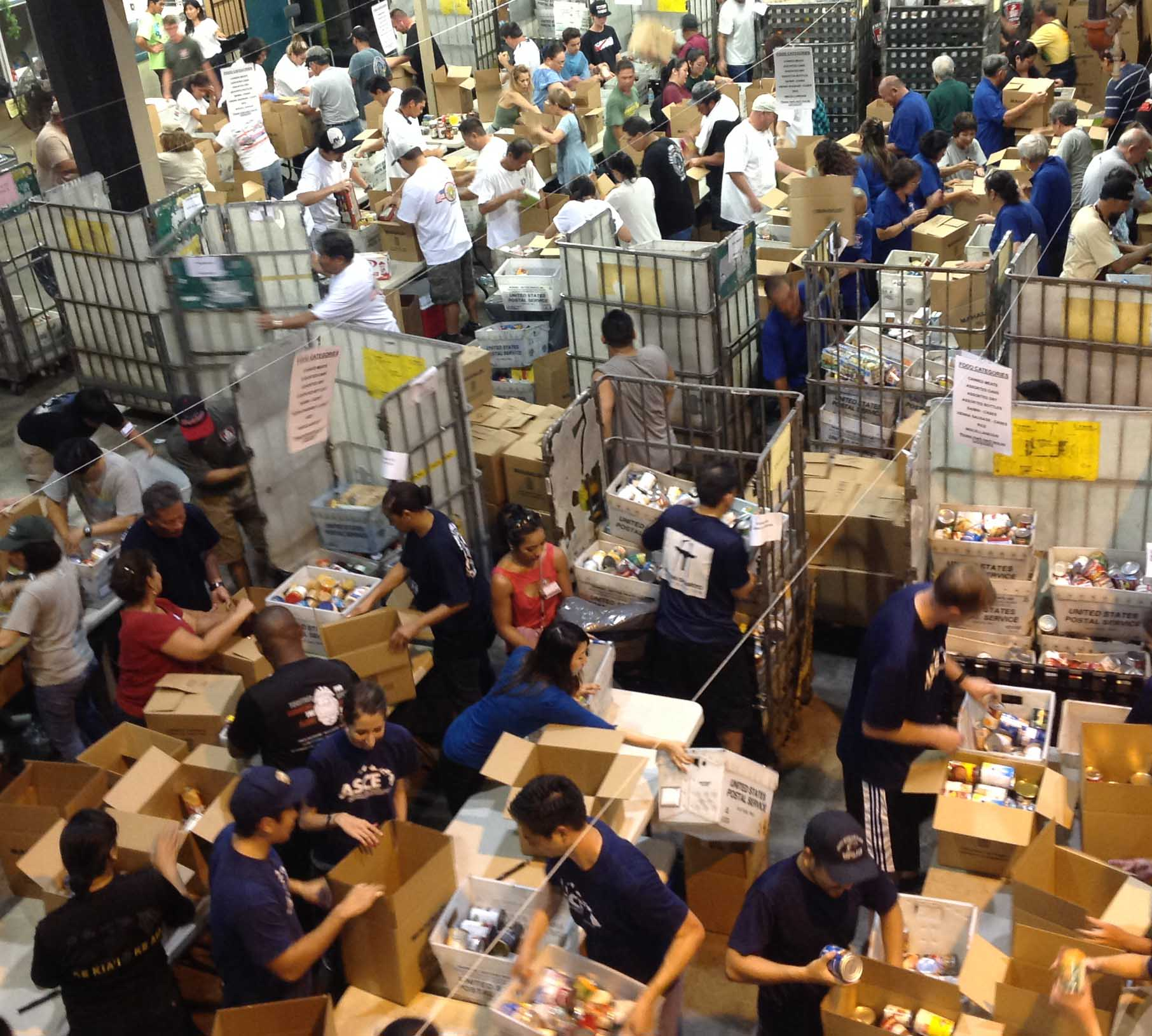 Union volunteers at annual National Letter Carriers Stamp Out Hunger food drive.