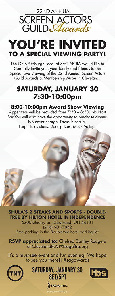 SAG Awards Cleveland Viewing Party 2016 Invite