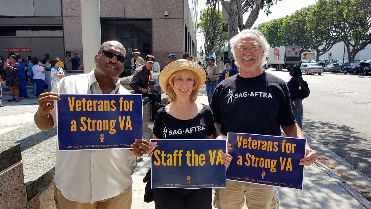 MOVE L.A. members joined SAG-AFTRA L.A. Military Personnel and Family Services Committee members and American Federation of Government Employees on Aug. 30, to urge lawmakers to oppose efforts to shut down VA hospitals. From left, New Directions Veterans Choir member George Hill, MOVE L.A. Chair and Los Angeles Local 2nd Vice President Ellen Crawford and MOVE L.A. committee member Mike Genovese.