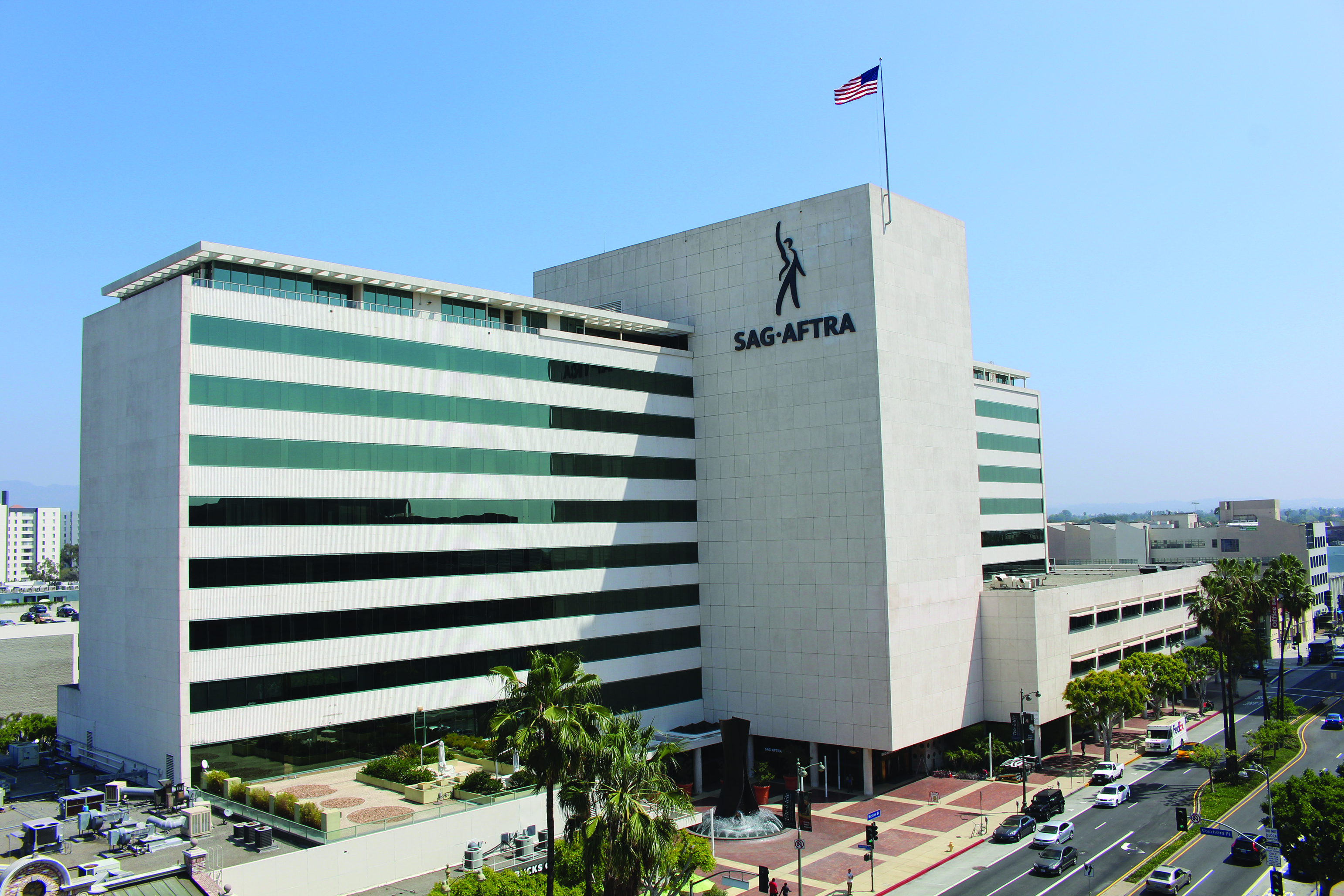 SAG-AFTRA building with new logo sign