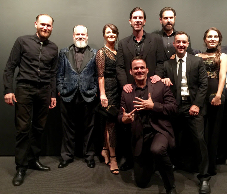 From left, Magnificent Seven cast members Mark Ashworth, NOLA Board Member Ritchie Montgomery, Carrie Lazar, Clint James, Sean Boyd (kneeling) David Kallaway, Billy Slaughter and Alix Angelis.