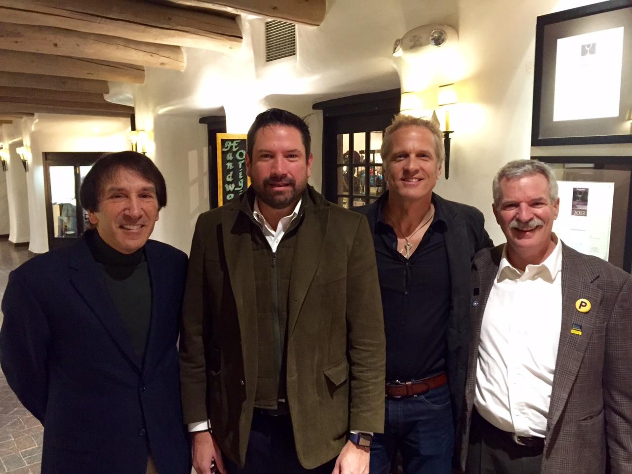 L-R: Mel MacKaron, Santa Fe Mayor Javier Gonzales, Patrick Fabian, Tom Schuch