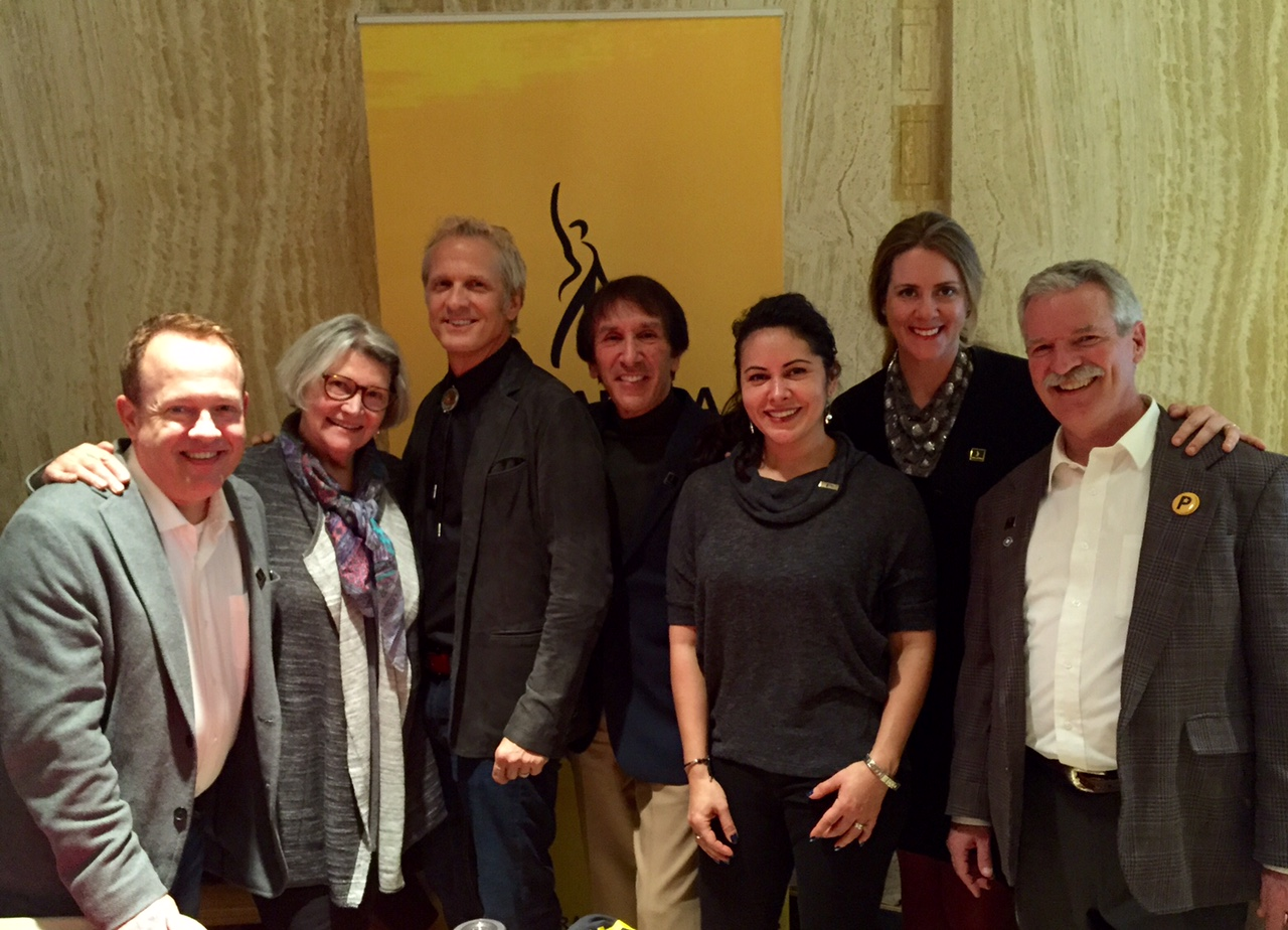 L-R: Marc Comstock, Frances Lee McCain, Patrick Fabian, Mel MacKaron, Diane Villegas, Kerri Wood Einertson, Tom Schuch at the SAG-AFTRA booth inside the state capitol.