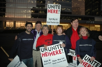 Screen Actors Guild members and AFTRA members, rallied in support of hotel workers.
