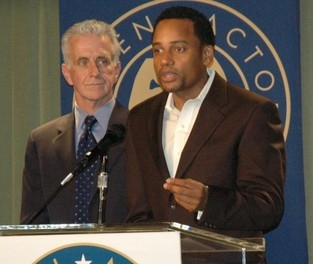 NY star Hill Harper, SAG National Board member and co-chair SAG National Legislative Committee with Deputy Los Angeles City Attorney Paul Krekorian.