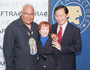 Charlie Hill, Ivy Bethune and George Takei