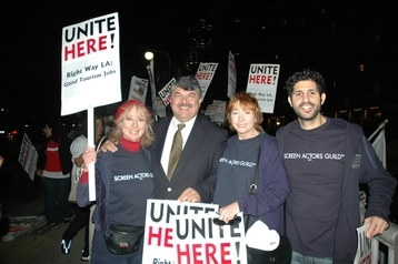 On his first official visit to Los Angeles, recently installed AFL-CIO President Richard Trumka, second from left, attends a rally  of union backers in support of hotel workers at the Hyatt Regency Century Plaza in Century City. SAG MOVE members Ellen Crawford, Jenny O'Hara and Assaf Cohen along with colleagues from AFTRA, IATSE and other LA area unions participated in the rally.