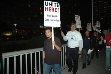 Representatives from United Steel Workers rallied with hundreds of UNITE HERE! Local 11 supporters.