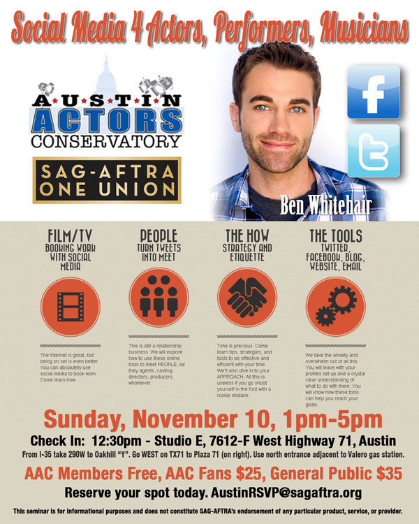 Austin Actors Conservatory Presents Social Media 4 Actors, Performers, Musicians