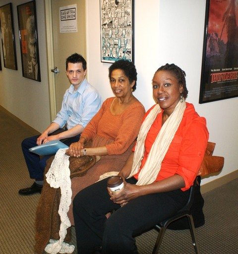 SAG-AFTRA members Matt Cannon, Maria Broom, and Barbara Asare-Bediko wait patiently for their turn to meet with Erica Arvold and Anne Chapman