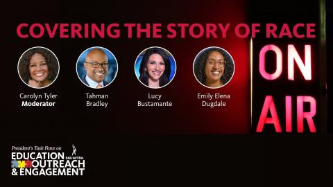 Disparos a la cabeza de 'Cubriendo la historia de la raza' LR: Carolyn Tyler, moderadora; Tahman Bradley; Lucy Bustamante; Emily Elena Dugdale