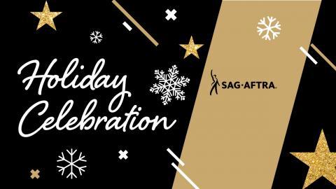 'Holiday Celebration' en cursiva blanca con el logotipo de SA debajo de 'Holiday' y '2020 Member Greetings & Holiday Memories' debajo de 'Celebration' sobre un fondo negro con bordes dorados en la parte superior e inferior. Copos de nieve blancos repartidos sobre la imagen