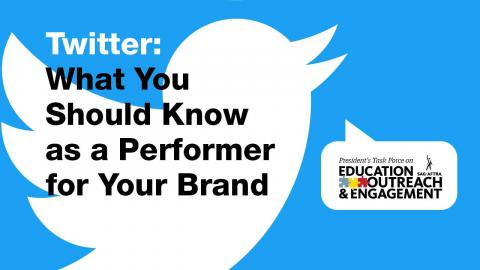 'Twitter: lo que debe saber como artista intérprete o ejecutante de su marca' en texto blanco con el logotipo de Twitter de fondo.