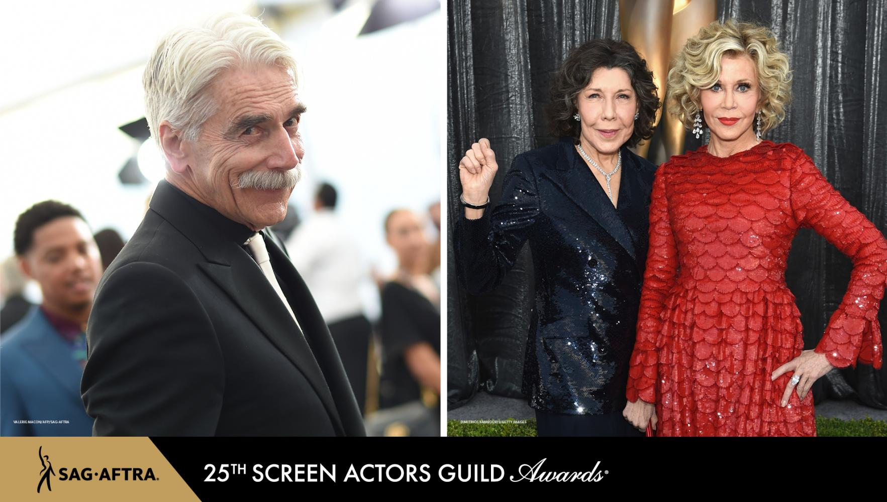over the shoulder pose from Elliot wearing an all black suite with a silver tie. Tomlin with her right fist held at shoulder height in a sequenced black suite and Fonda in a red long sleeve fish scale dress.