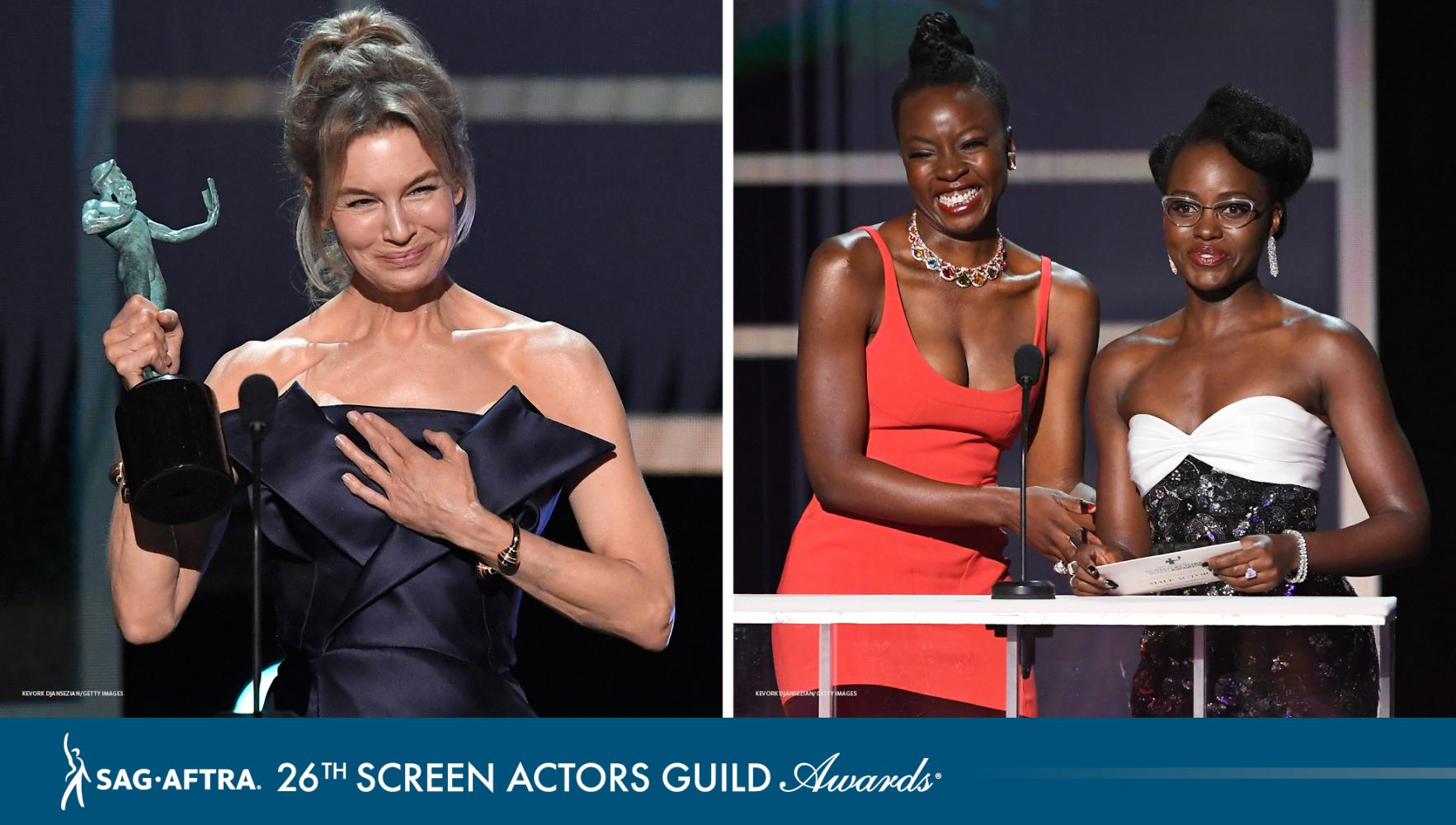 Zellweger holding left hand to chest, Gurira and Nyong'o on stage presenting