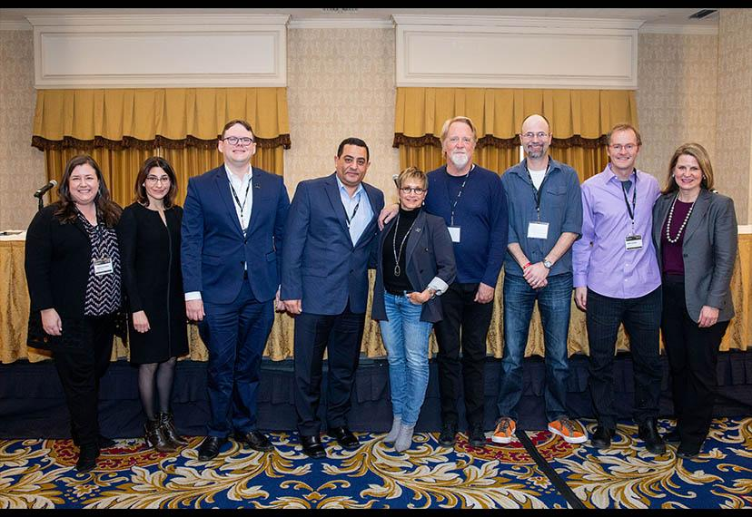 """Leadership from SAG-AFTRA and the AFL-CIO with speakers from the """"Starring Digital Data"""" panel. From left, SAG-AFTRA Executive Vice President and New York Local President Rebecca Damon; """"The Hollywood Reporter"""" technology editor and panel moderator Caroly"""