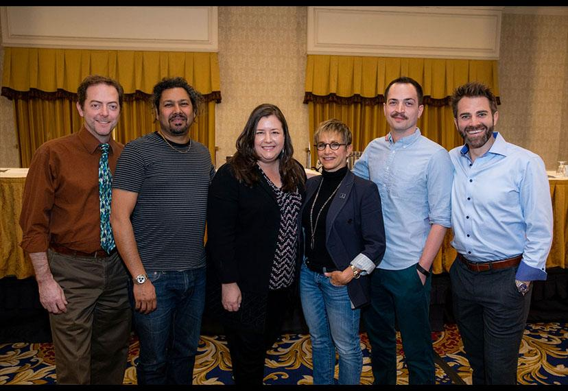 SAG-AFTRA President Carteris, third from right, with members of the New Innovation and Technology Committee: Randal Berger, Dileep Rao, Executive Vice President and committee chair Rebecca Damon, Nick Fondulis and Ben Whitehair.