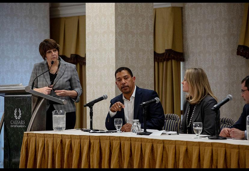 """SAG-AFTRA National Executive Director David White, center, on the """"The Ethics of Transformation: How to Protect Workers in a Rapidly Evolving Technological Environment"""" panel."""