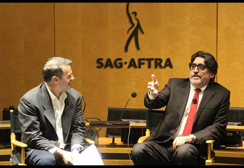 Renowned SAG-AFTRA member Alfred Molina, right, with SAG-AFTRA L.A. Conservatory Committee member Michael Bradley on Nov. 26.