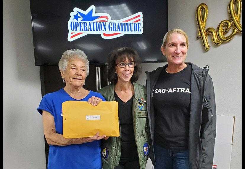SAG-AFTRA National Board member and L.A. Military Committee Chair Jane Austin, right, represented SAG-AFTRA on Dec. 14 for Operation Gratitude.