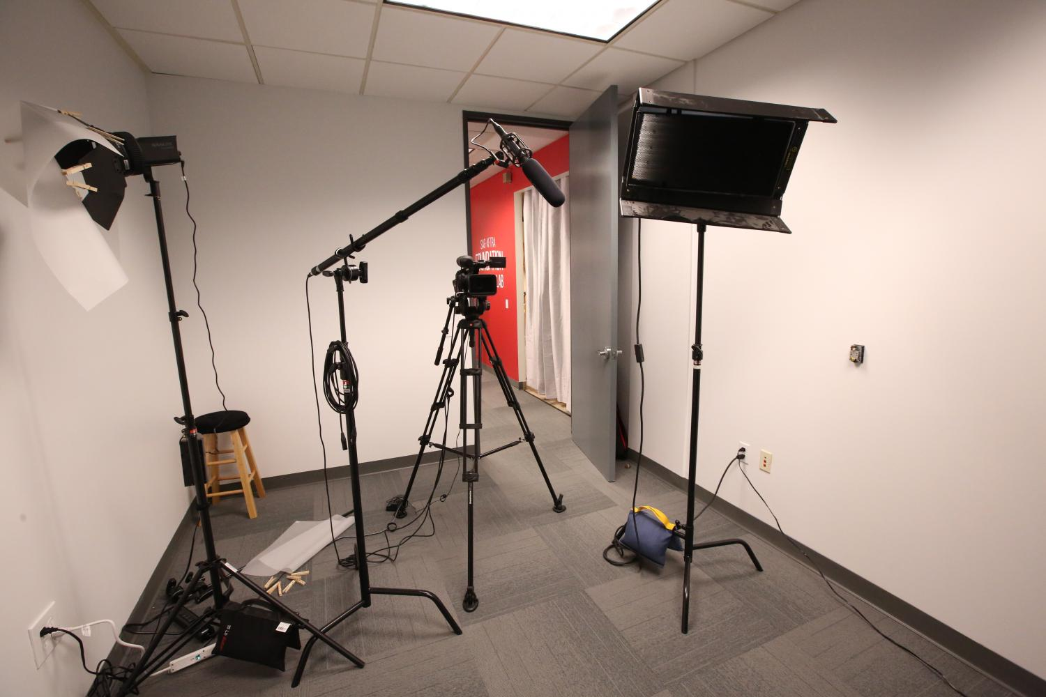 Studeio with microphone, lights and a camera setup for self-taping