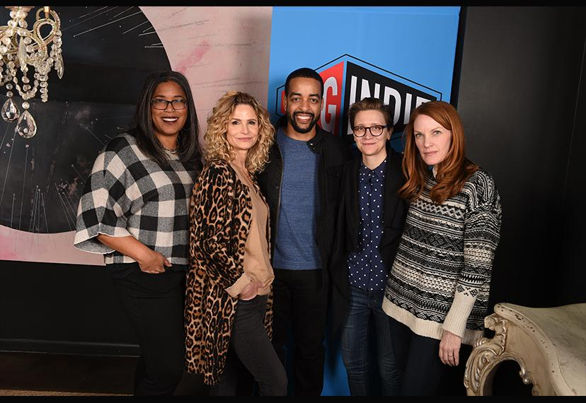 From left, SAGindie Executive Director Darrien Gipson, actor-filmmaker Kyra Sedgwick and filmmakers Rashaad Ernesto Green, Marie Schlingmann and Samantha Buck at the 22nd Annual Sundance Film Festival SAGindie Filmmakers Luncheon on Jan. 28.