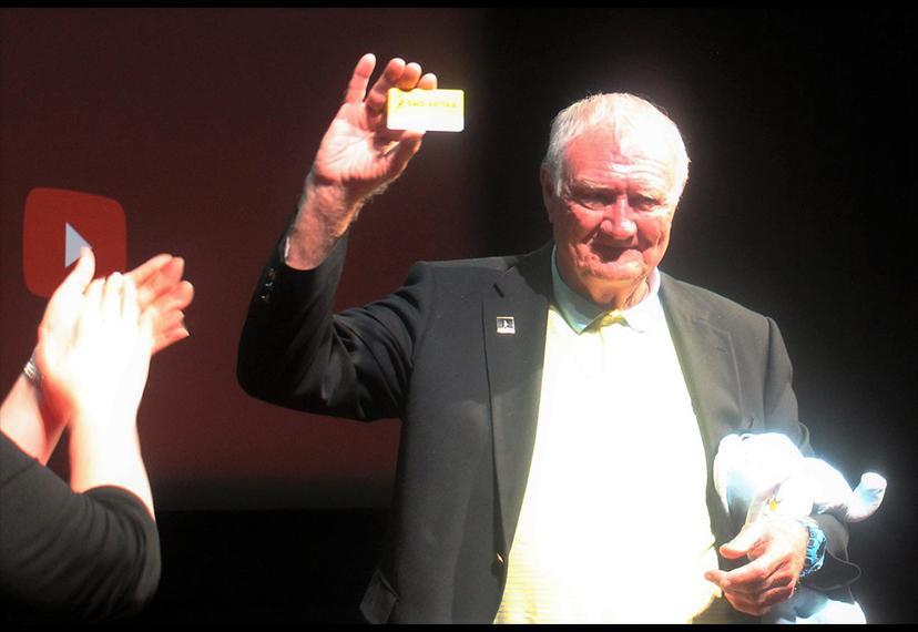 Thomas Hanley with his honorary SAG-AFTRA membership card.