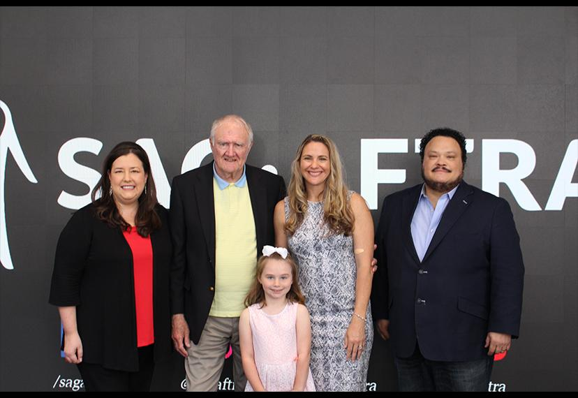 From left, SAG-AFTRA Executive Vice President and New York Local President Rebecca Damon, honorary SAG-AFTRA member Thomas Hanley, Hanley's granddaughter Reagan Elizabeth Brater, his daughter Mara Hanley Brater, and National and New York Local Board membe