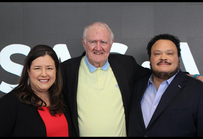 From left, SAG-AFTRA EVP and New York Local President Rebecca Damon, honorary SAG-AFTRA member Thomas Hanley and SAG-AFTRA National and New York Local Board member Adrian Martinez.