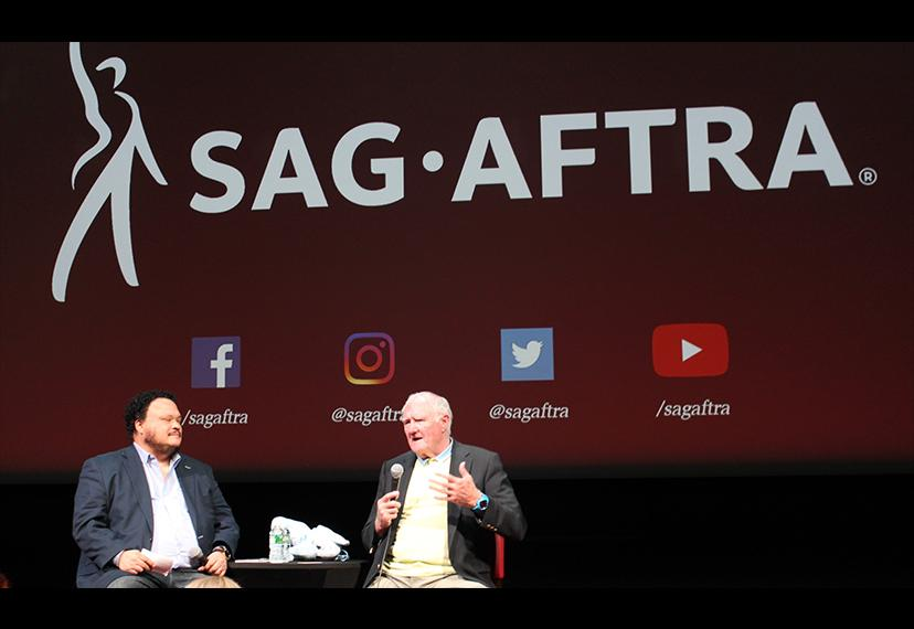 SAG-AFTRA National and New York Local Board member Adrian Martinez, left, and honorary SAG-AFTRA member Thomas Hanley.