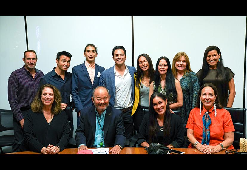 SAG-AFTRA Vice President, Los Angeles Clyde Kusatsu, first row, second from left, and National Native Americans Committee member Jason Grasl, center second row, with the CSA Native American & Indigenous Actors Town Hall participants on Oct. 22.