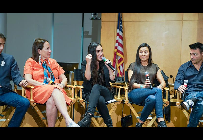 Actor Q'orianka Kilcher, center, passionately discusses the importance of indigenous performers creating their own content.