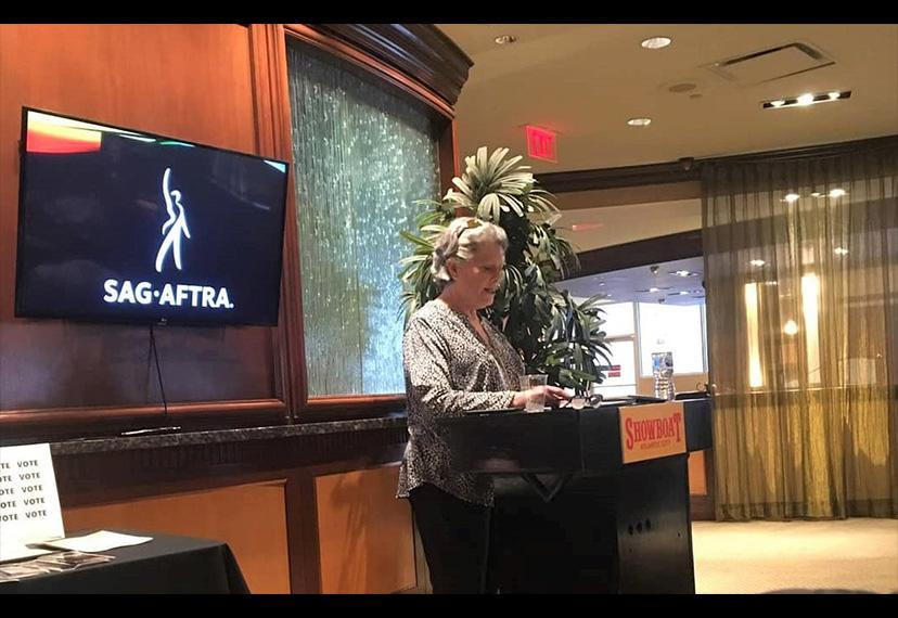 Philadelphia Local Secretary and South Jersey Filmmakers and Producers Community founder Pat Chambers Kazanjian gives opening remarks at a Feb. 12 networking event.