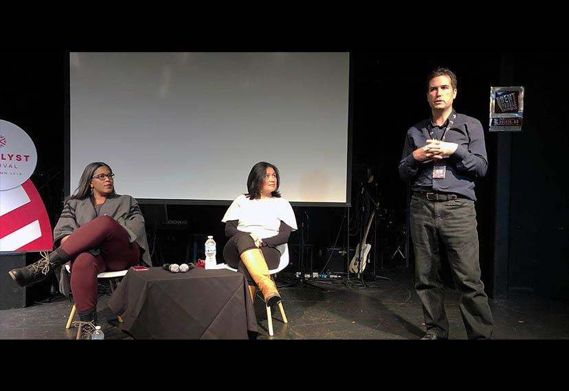 SAGindie Executive Director Darrien Michele Gipson, left, and SAG-AFTRA Senior Business Representative Silvia Gerber, center, participate in a workshop with Catalyst Executive Director Philip Gilpin, Jr. to discuss the ways filmmakers can work with SAG-AF