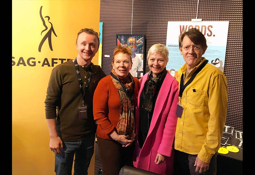 From left, SAG-AFTRA Twin Cities Local Board member Paul Cram, member Shelli Place, MN Film & TV Executive Director Melodie Bahan and Twin Cities Film Festival Chair Casey Lewis meet in the Catalyst Content Festival's SAG-AFTRA Lounge.