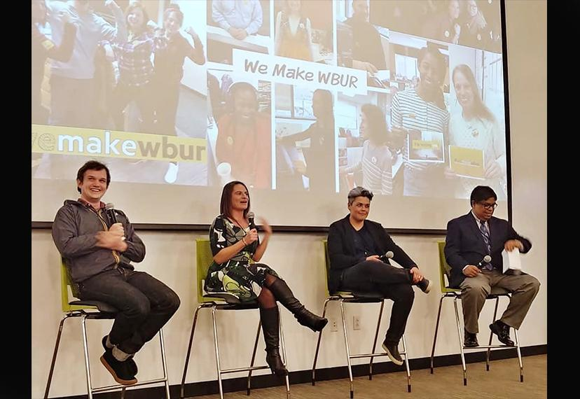 From left, WBUR's education reporter Max Larkin and senior news writer Sara-Rose Brenner and SAG-AFTRA Director of Organizing Maggie Russell-Brown sit with New England Vice President, Broadcast Vic Ramos during a panel discussion.