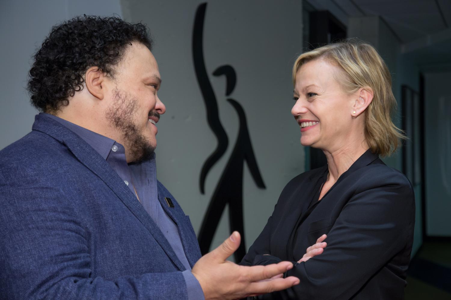 National Board member Adrian Martinez and Vice President, Actor Performers Samantha Mathis catch up.
