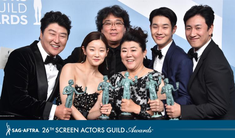 """""""Parasite"""" cast holding their Actor backstage in the Media Room"""