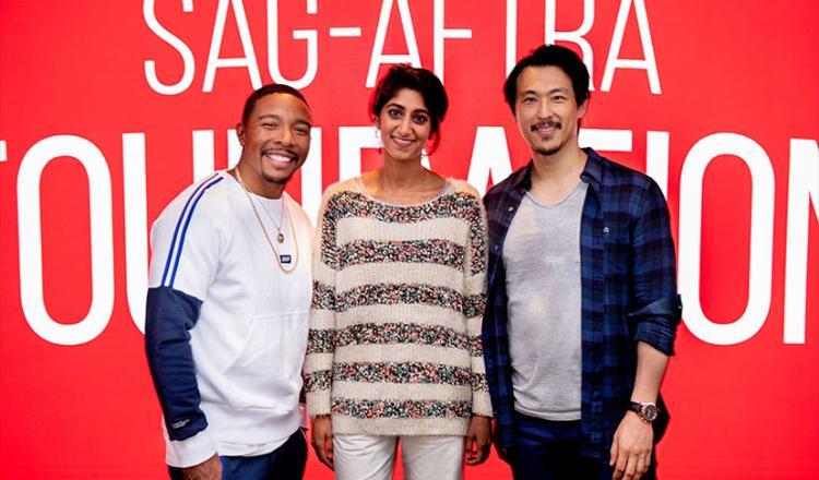 From left, SAG-AFTRA members Allen Maldonado, Sunita Mani and James Chen on Oct. 15.