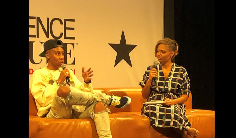 SAG-AFTRA member Lena Waithe, left, talks about her experiences in Hollywood and new signatory show, Twenties at 'Essence House: Hollywood' on Feb. 7.