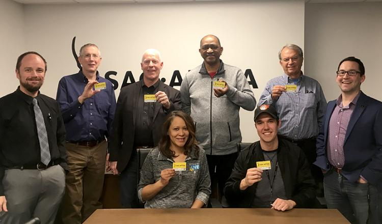 """Washington-Mid Atlantic members show their cards at the """"SAG-AFTRA 101"""" workshop."""