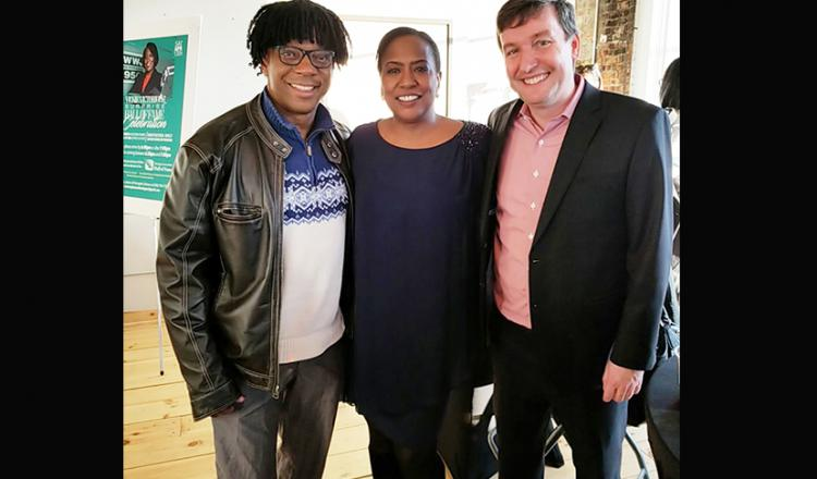 From left, Michigan Local Second Vice President Phil Elam, member and broadcaster Vickie Thomas and local president Eric Wydra