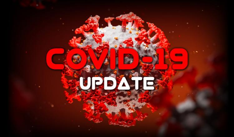 """COVID-19 Update"" with a coronavirus molecule in the background."