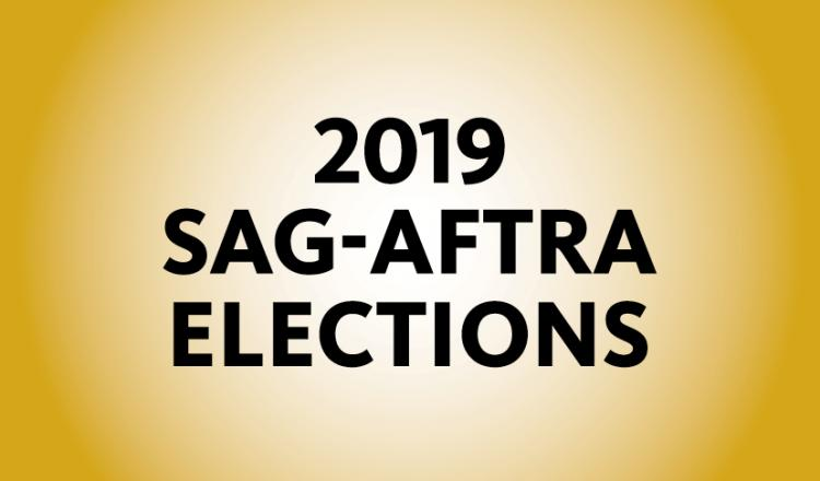 """2019 SAG-AFTRA Elections"" in black on a yellow background"